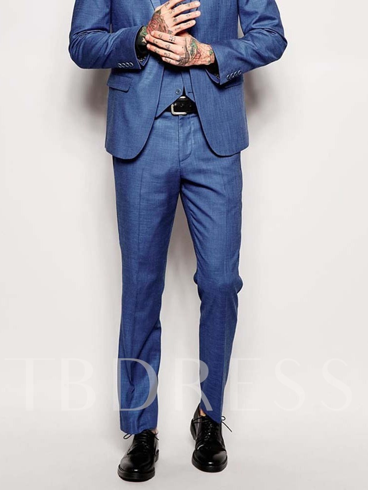 Wedding Bridegroom Full Length Casual Plain Straight Mid Waist Men's Suit Trousers