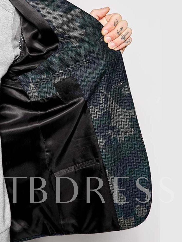 Wedding Bridegroom Blazer Camouflage Fashion Notched Lapel Print Men's leisure Suit