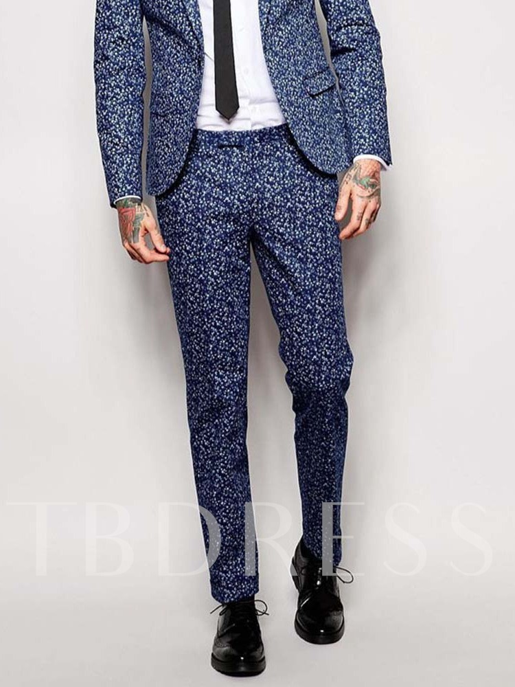Wedding Bridegroom Ankle Length Casual Slim Floral Mid Waist Men's Suit Trousers