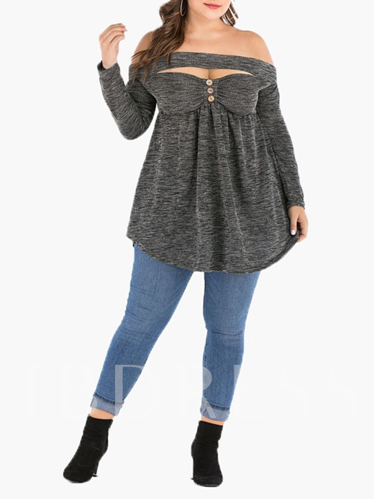 Plus Size Off Shoulder Mid-Length Long Sleeve Tracksuit Loose Women's T-Shirt