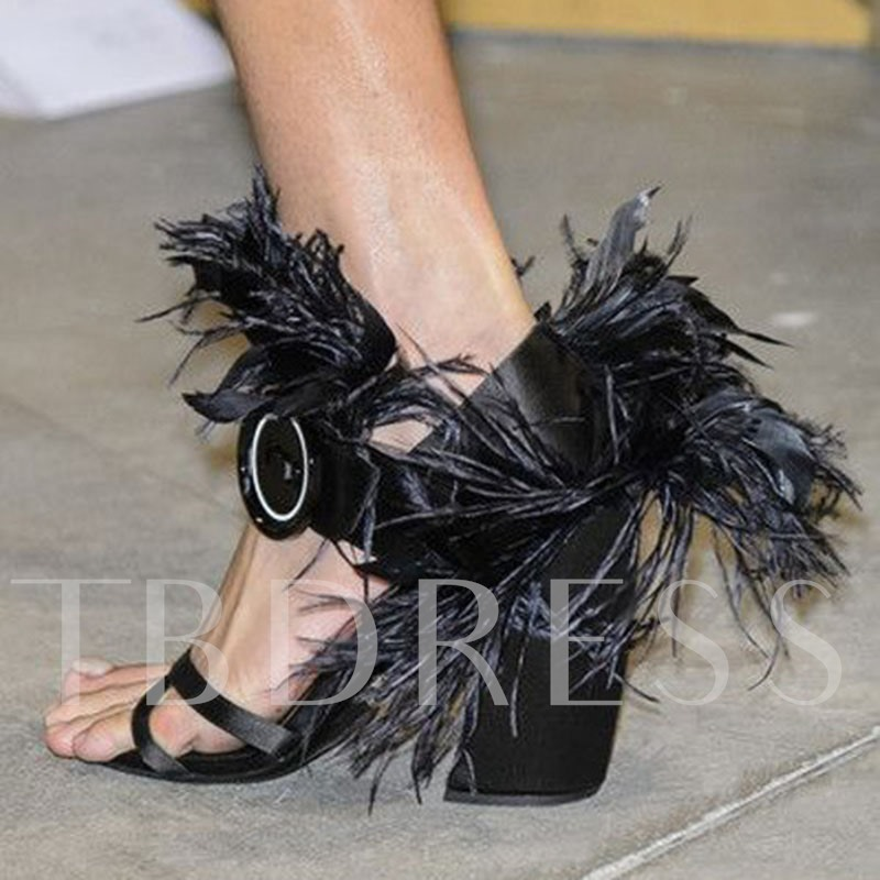 Customized Feather Buckle Open Toe Chunky Heel Sandals