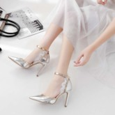 Line-Style Buckle Pointed Toe Stiletto Heel Banquet Sandals
