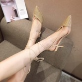 Lace-Up Pointed Toe Ankle Strap Stiletto Heel Plain Sandals