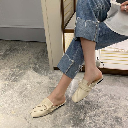 Slip-On Closed Toe Thread Block Heel Rubber Slippers