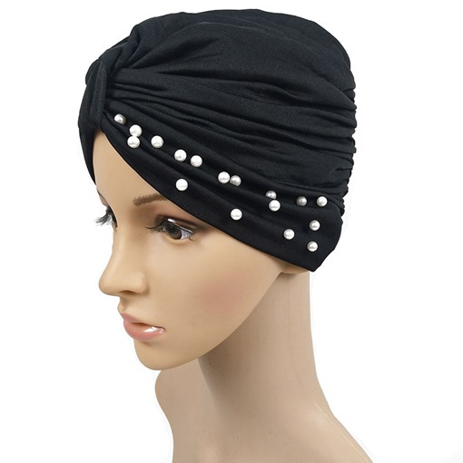 Beads Casual Cotton Plain Turbans