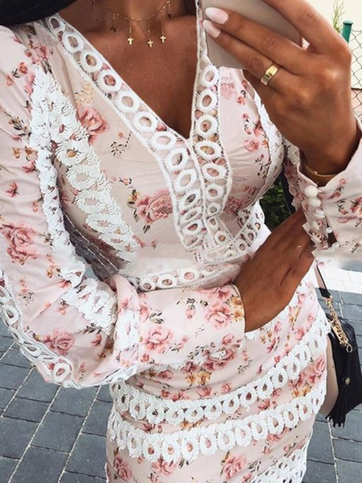 V-Neck Long Sleeve Above Knee Print Floral Women's Dress