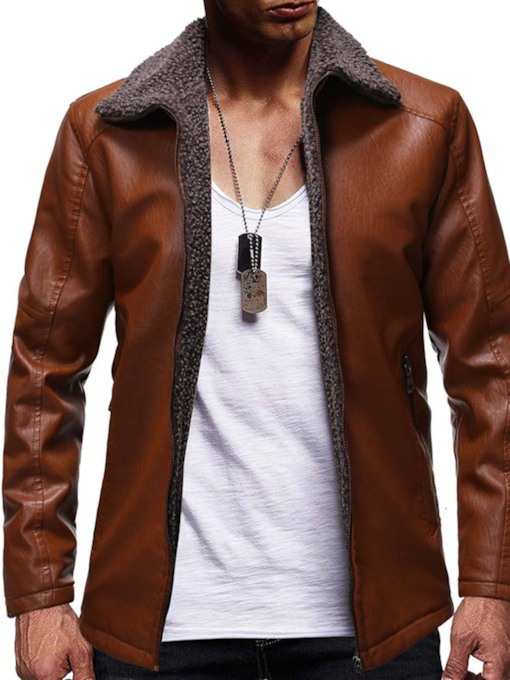 Standard Lapel Plain Casual Men's Leather Jacket