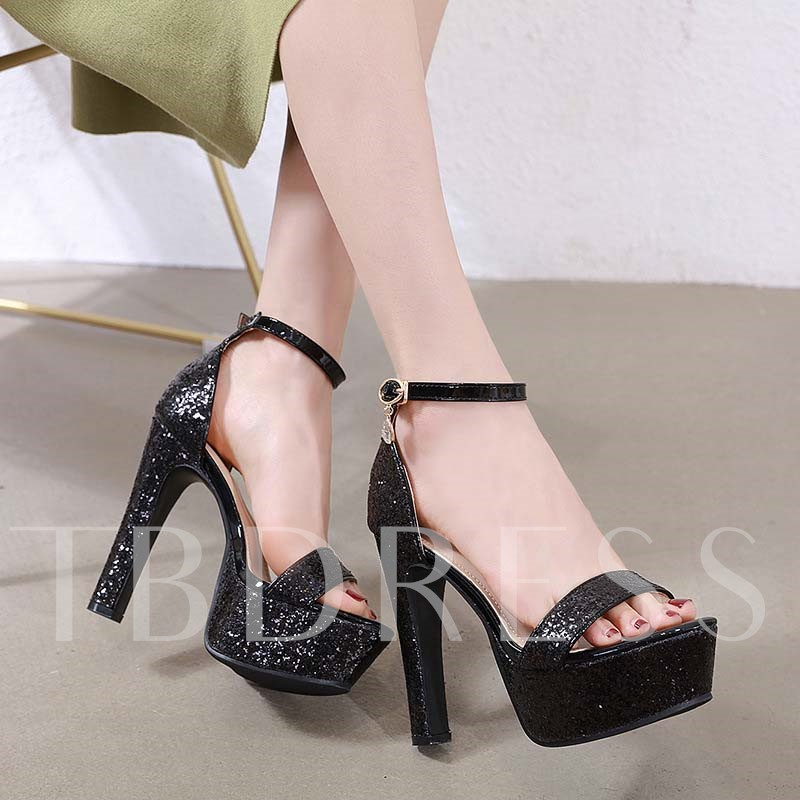 Chunky Heel Open Toe Line-Style Buckle Heel Covering Prom Sandals