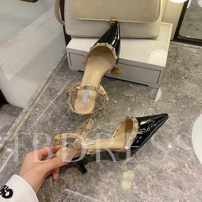 Pointed Toe Line-Style Buckle Stiletto Heel Rivet Sandals