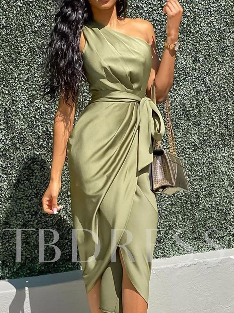 Sexy Mid-Calf Pleated Sleeveless Oblique Collar Summer Women's Dress