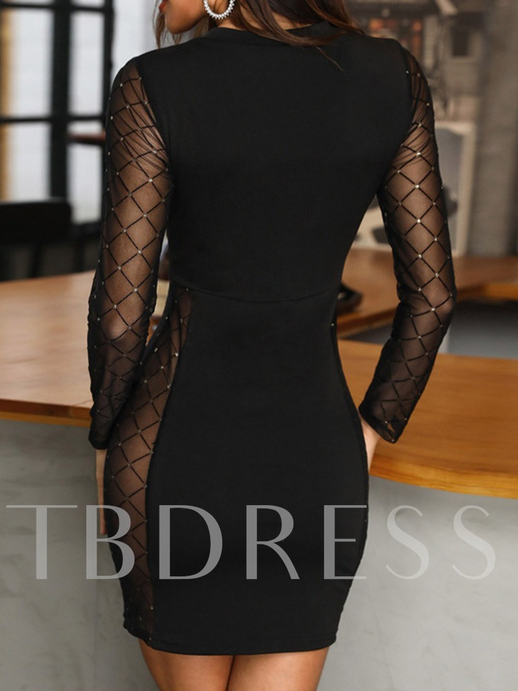 Sexy Above Knee Long Sleeve Round Neck See-Through Bodycon Women's Dress