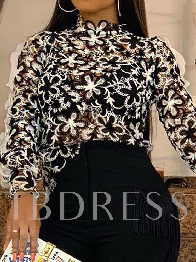 Print Polyester Long Sleeve Women's Blouse