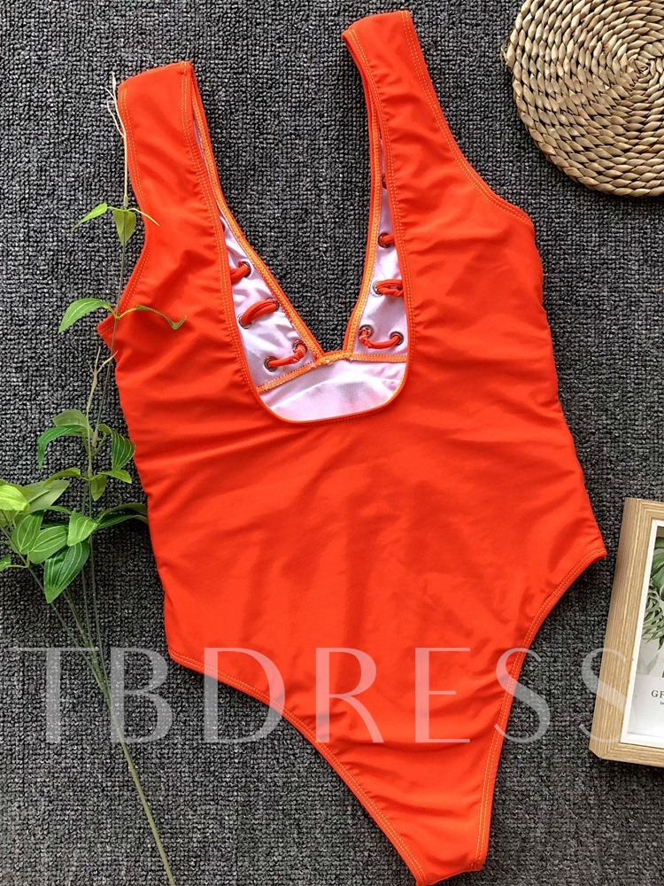 Fashion Plain One Piece Sexy Women's Swimwear