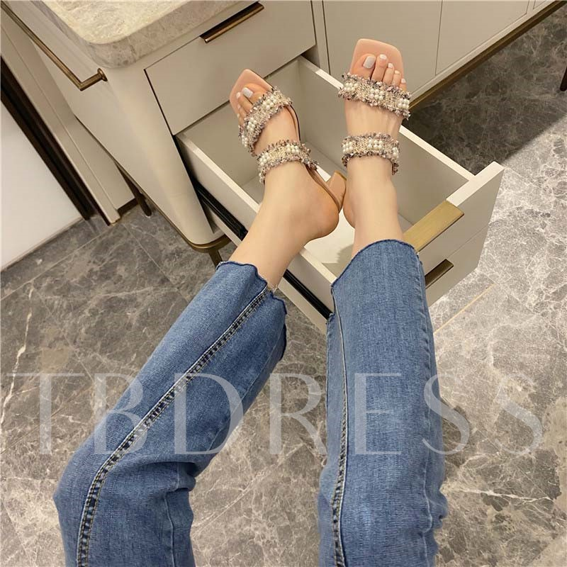 Slip-On Beads Chunky Heel Summer Slippers