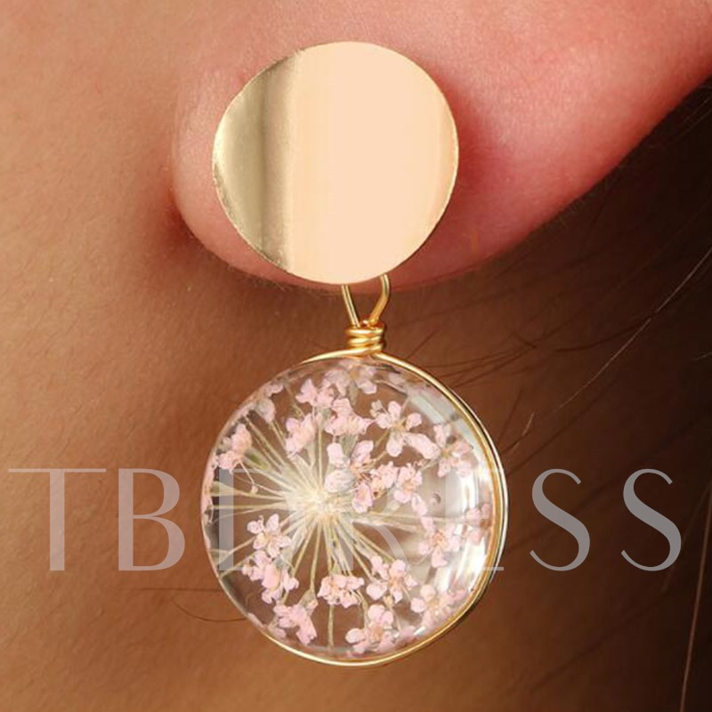 E-Plating Glass Floral Holiday Earrings