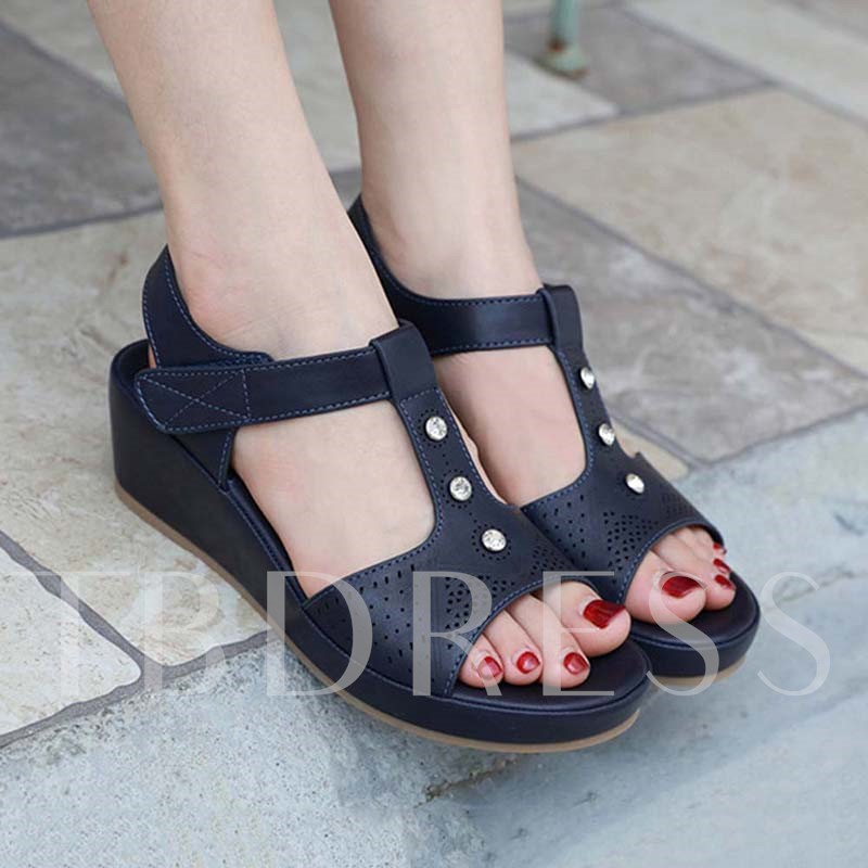 Wedge Heel Open Toe Velcro Vintage Sandals