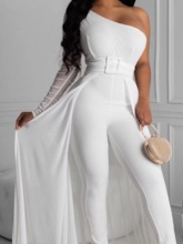 Swallowtail Plain Full Length Slim Women's Jumpsuit