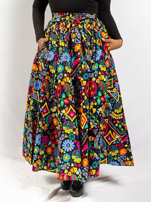 Expansion Ankle-Length Print Casual Women's Skirt