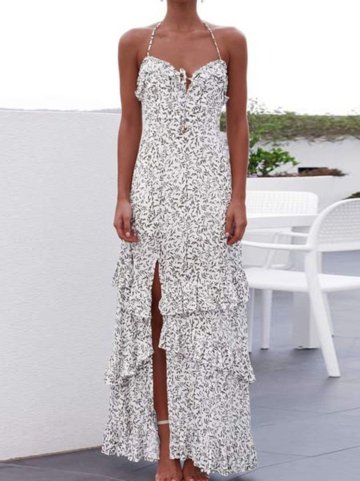 Sweet Sleeveless Floor-Length Split Floral Women's Dress