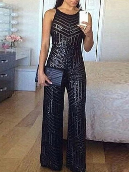 Full Length Sequins Plain Western Slim Women's Jumpsuit