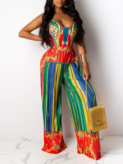 Print Color Block Western Full Length Loose Women's Jumpsuit