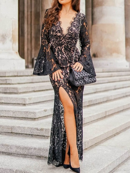 Elegant Long Sleeve Floor-Length V-Neck Split Floral Women's Dress
