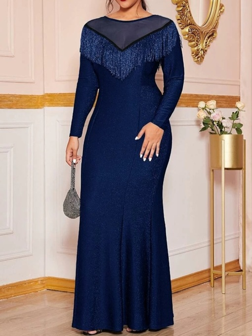Plus Size Backless Round Neck Long Sleeve Floor-Length Mermaid Women's Dress