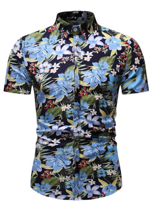 Lapel Print Casual Floral Single-Breasted Men's Shirt