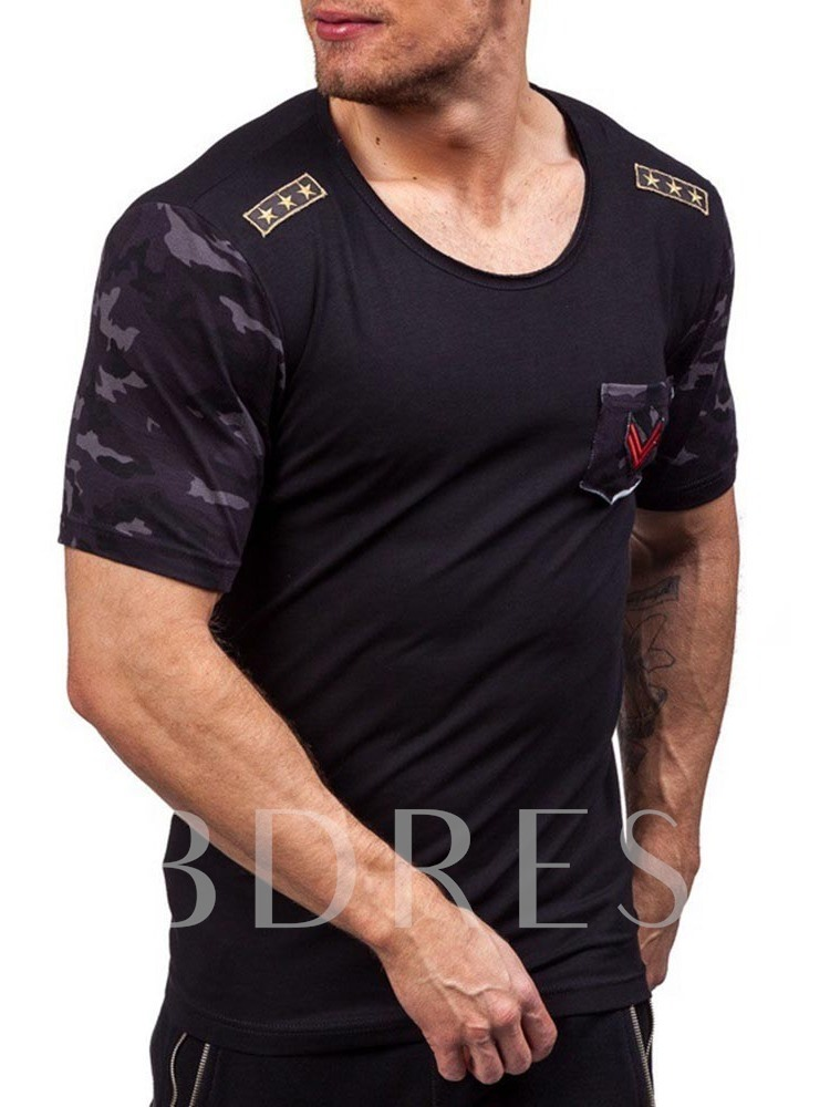 Round Neck Camouflage Patchwork Casual Short Sleeve Men's T-shirt