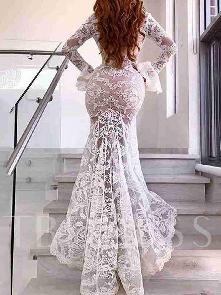 Lace Split V-Neck Long Sleeve Floor-Length Elegant Women's Dress
