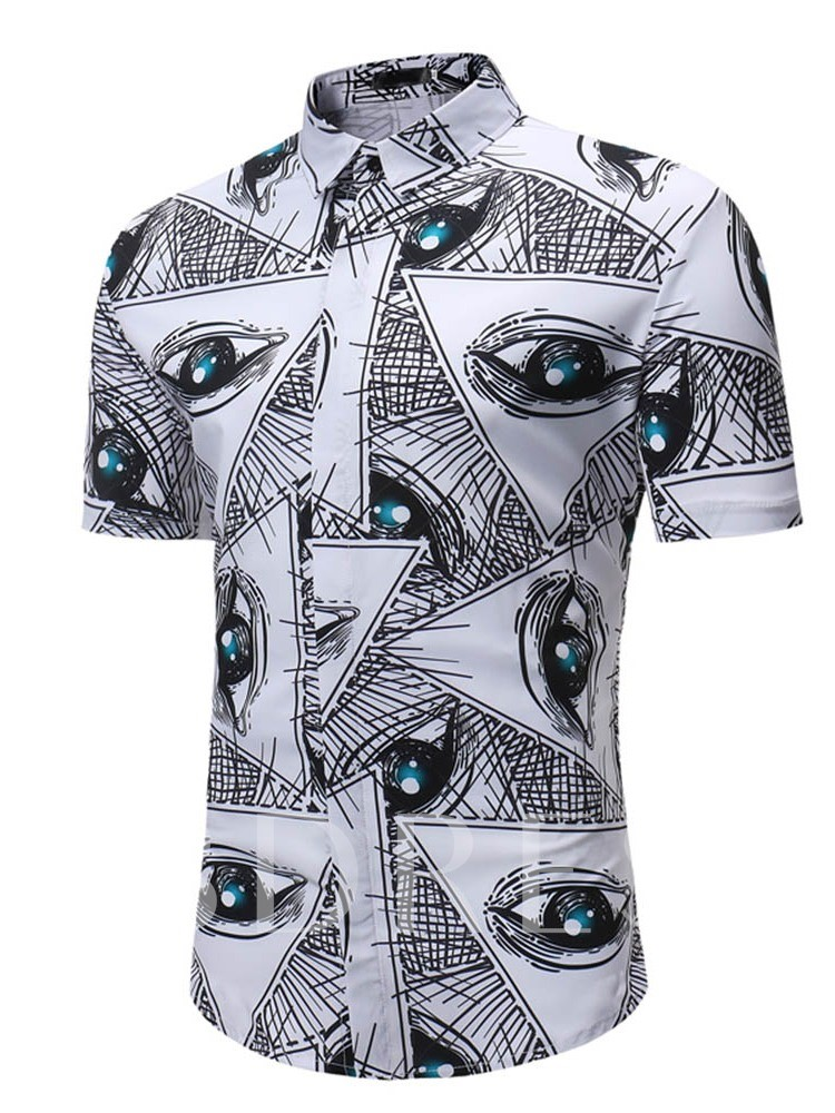 Lapel Casual Print Slim Cotton Blends Men's Shirt