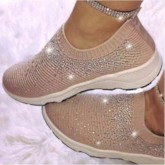 Round Toe Flat With Rhinestone Slip-On Casual Flats