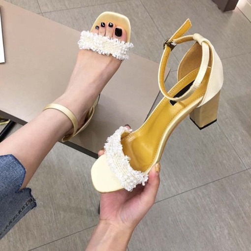 Line-Style Buckle Square Toe Chunky Heel Heel Covering Casual Sandals