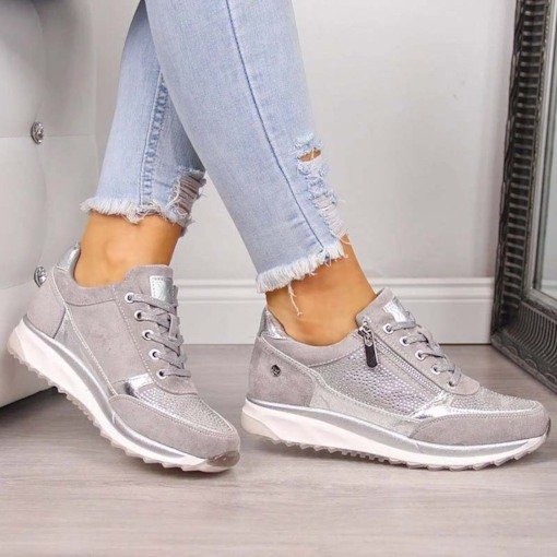 Low-Cut Upper Lace-Up Round Toe Zipper Casual Sneakers
