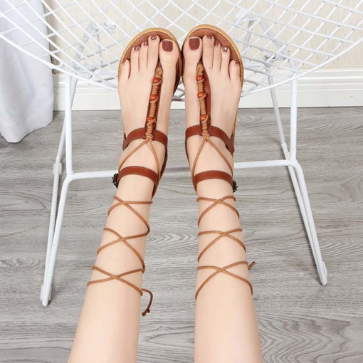 Line-Style Buckle Flat With Thong Ankle Strap Plain Sandals