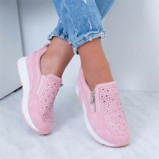 Zipper Round Toe Flat With Slip-On Plain Thin Shoes