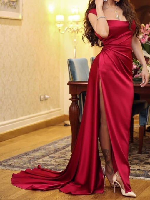 Elegant Cap Sleeve Floor-Length Split Plain Women's Dress