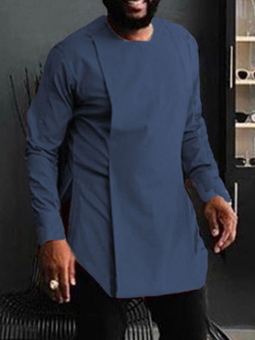 Plain Round Neck Casual Fall Men's Shirt