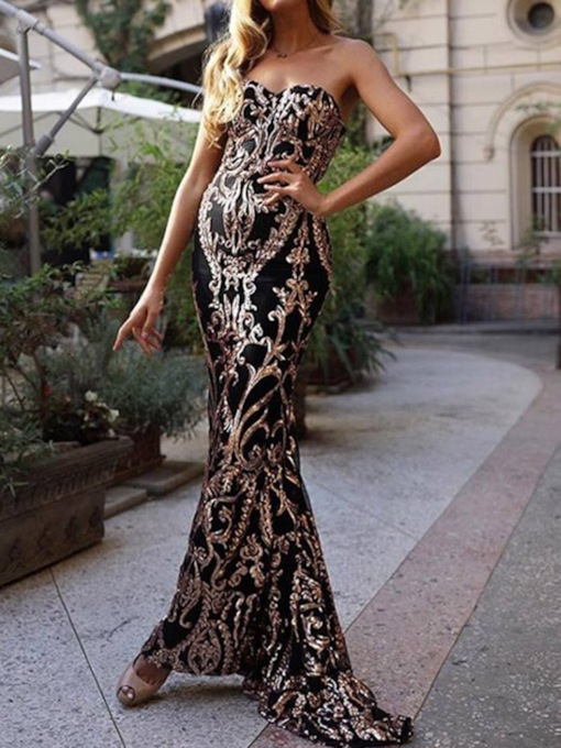Elegant Sleeveless Sequins Floor-Length Floral Women's Dress