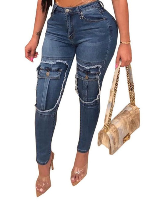 Pencil Pants Pocket Skinny Women's Jeans