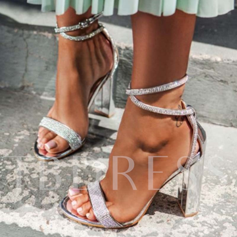 Open Toe Buckle Heel Covering Chunky Heel Plain Sandals