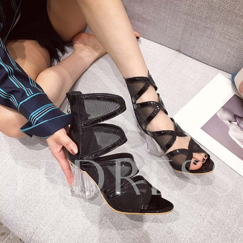 Chunky Heel Open Toe Heel Covering Zipper Thread Sandals