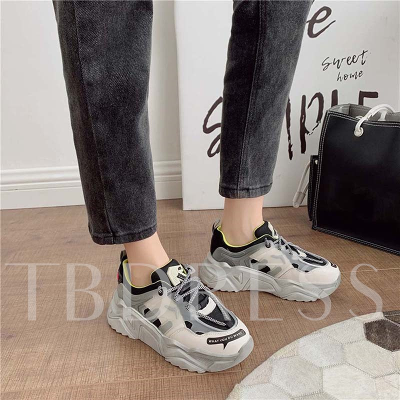 Lace-Up Round Toe Low-Cut Upper PU Sneakers