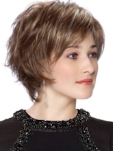 Natural Looking Women's Pixie Cut Straight Elegant Human Hair Lace Front Wigs With Bangs 10Inch