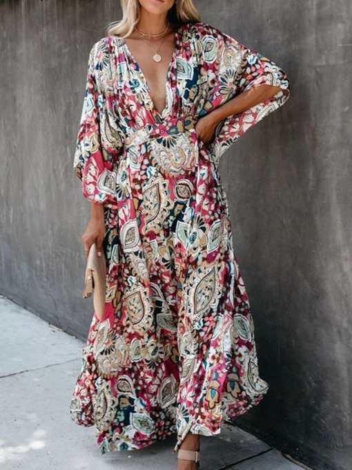 Print Floor-Length Three-Quarter Sleeve V-Neck Expansion Women's Dress