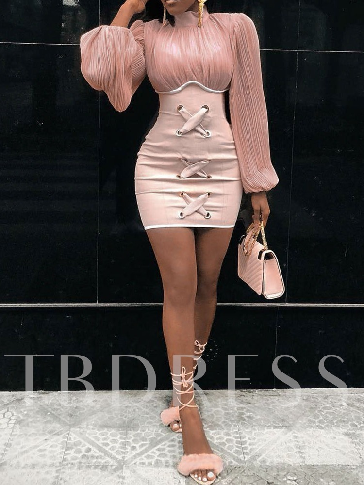 Pleated Long Sleeve Patchwork Stand Collar Above Knee Women's Dress