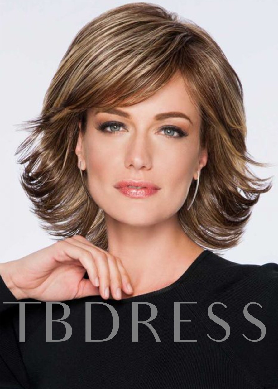 Medium Shaggy Layered Hairstyles Women Wavy Human Hair Wigs Side Part Lace Front Wigs 14Inch