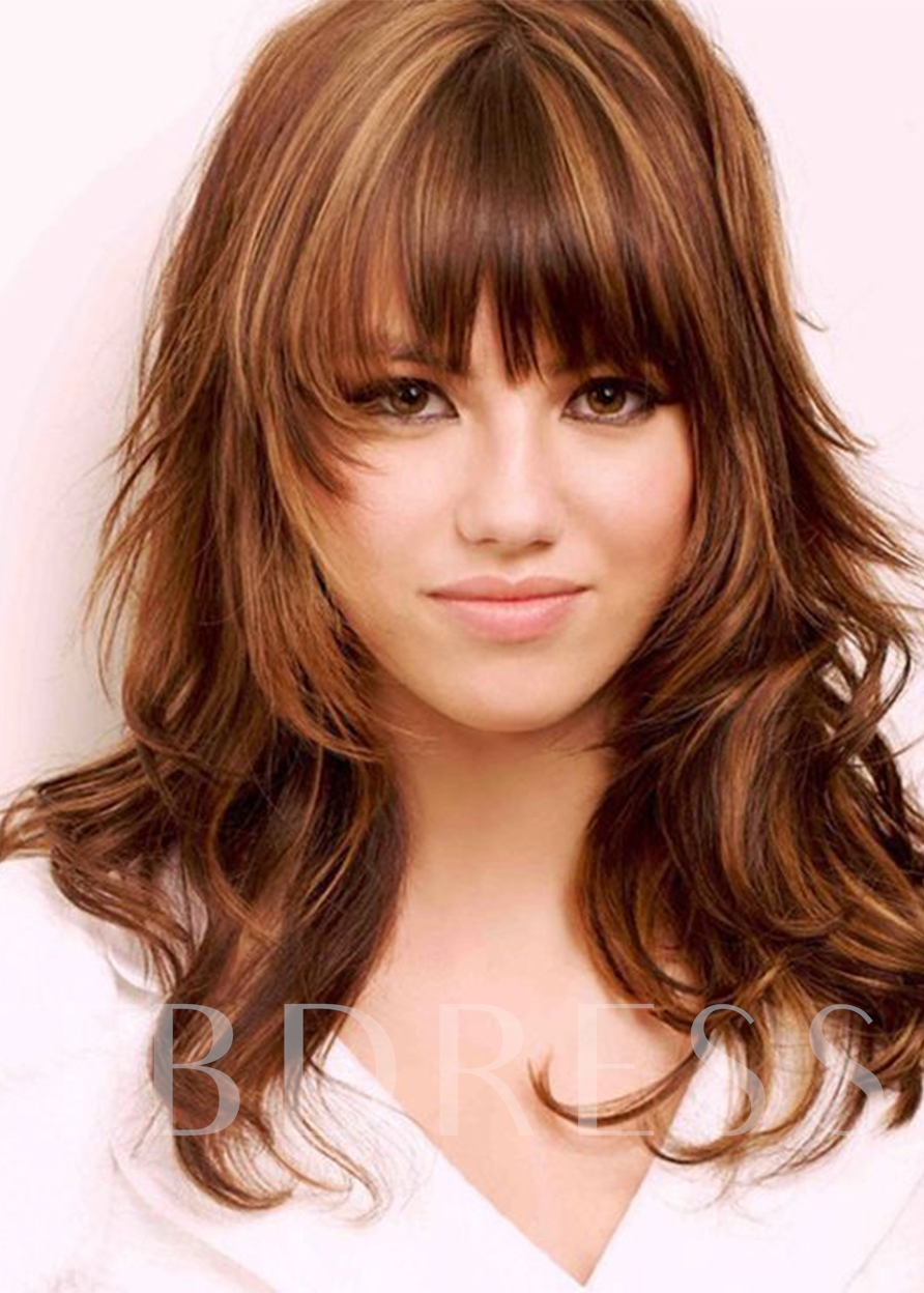 Women's Layered Hairstyles Brown Color Wavy Synthetic Hair Wigs Capless Wigs With Bangs 20Inch