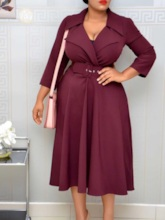 Belt Notched Lapel Mid-Calf Three-Quarter Sleeve Fashion Women's Dress