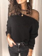 Sweet Patchwork Loose Casual Women's Sweater